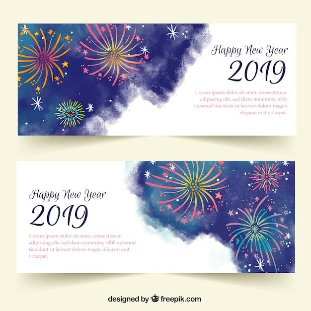 Bannières de fête aquarelle nouvel an 2019 Vecteur gratuit