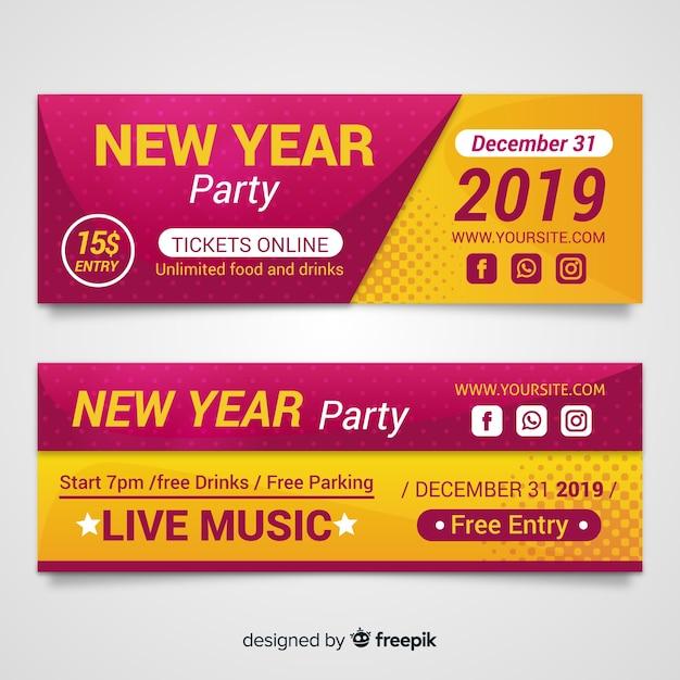 Bannières de fête du nouvel an 2019 Vecteur gratuit