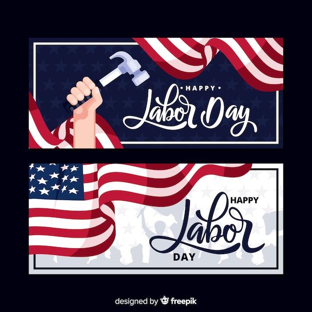 Bannières de fête du travail américaines Vecteur gratuit