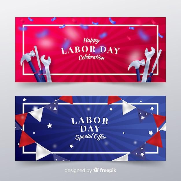 Bannières de la fête du travail des états-unis dans un style réaliste Vecteur gratuit