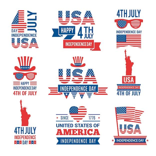 Bannières de la fête de l'indépendance américaine. Vecteur Premium