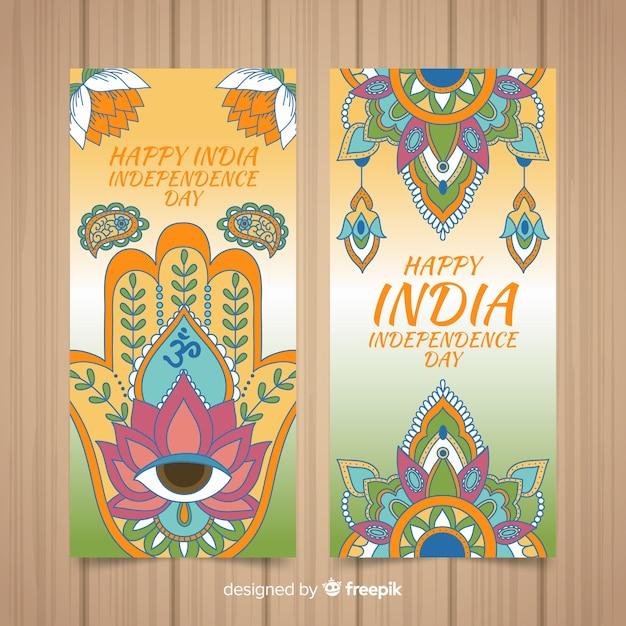 Bannières de la fête de l'indépendance indien dessinés à la main Vecteur gratuit