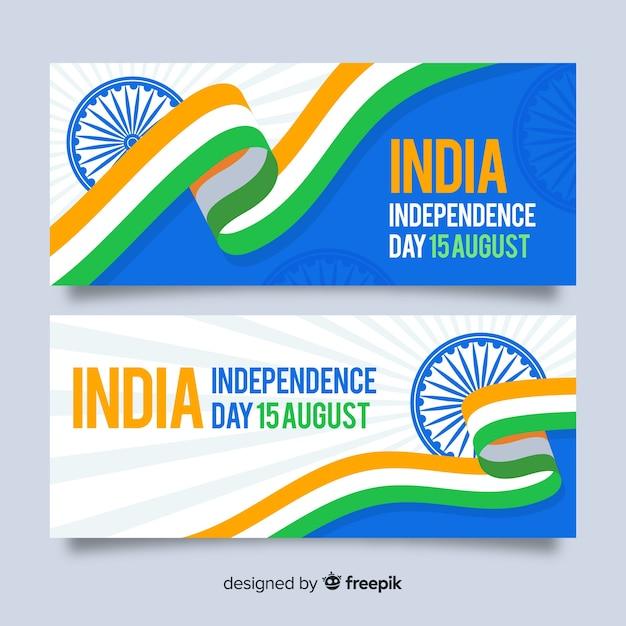 Bannières de fête de l'indépendance plat inde Vecteur gratuit