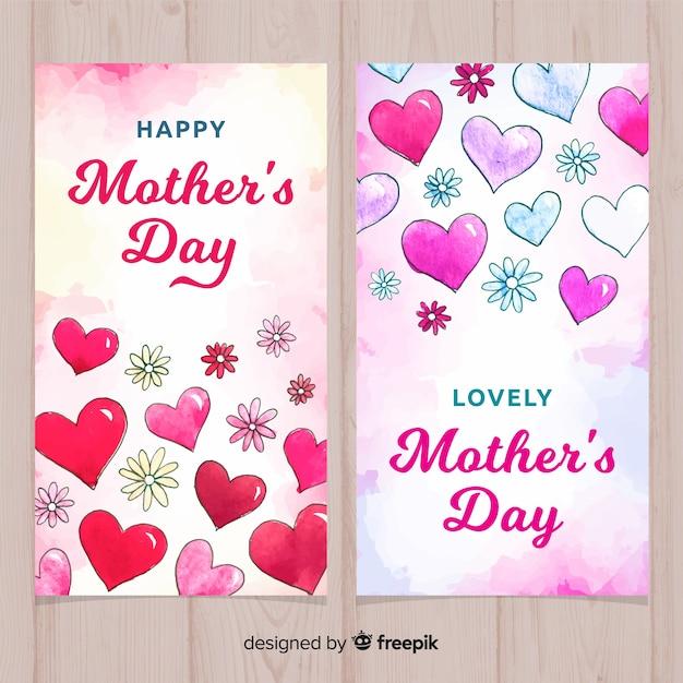 Bannières de fête des mères aquarelle Vecteur gratuit