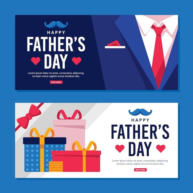 Bannières De Fête Des Pères Avec Cadeaux Et Costume Vecteur gratuit