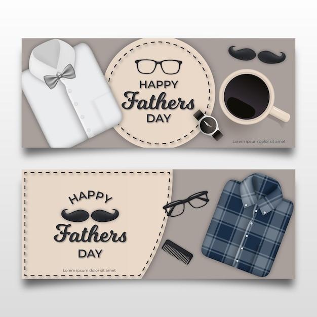 Bannières De Fête Des Pères Avec Chemises Et Moustache Vecteur gratuit