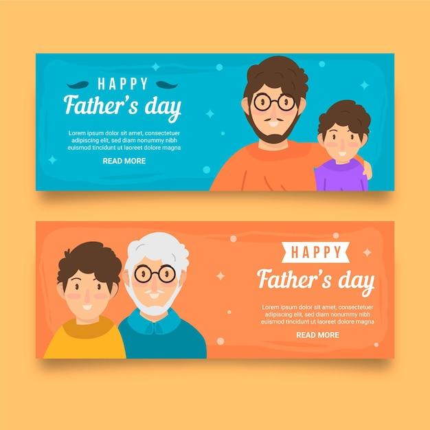 Bannières De Fête Des Pères Design Plat Vecteur gratuit