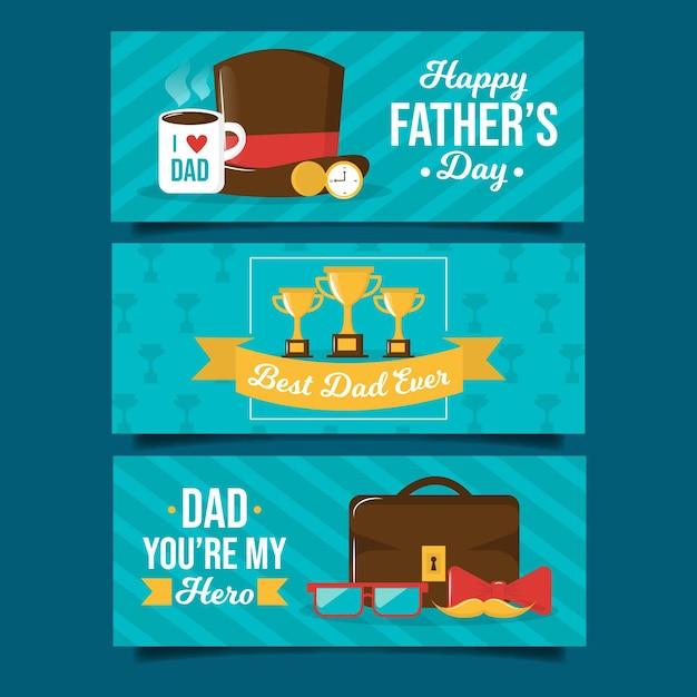 Bannières De Fête Des Pères Dessinés à La Main Vecteur gratuit