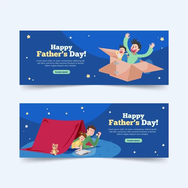 Bannières De Fête Des Pères Avec Papa Et Enfant Vecteur gratuit