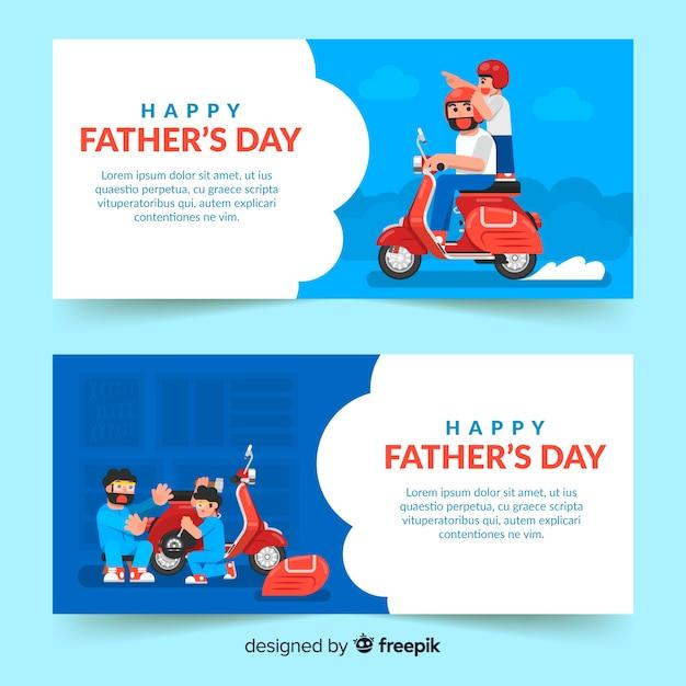 Bannières de fête des pères plats Vecteur gratuit