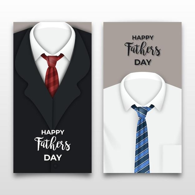 Bannières De Fête Des Pères Réalistes Avec Des Costumes Vecteur gratuit