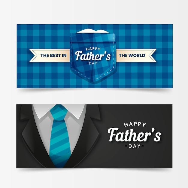 Bannières De Fête Des Pères Réalistes Vecteur gratuit