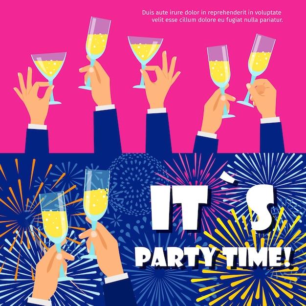 Bannières de fête sertie de feux d'artifice et de champagne Vecteur Premium
