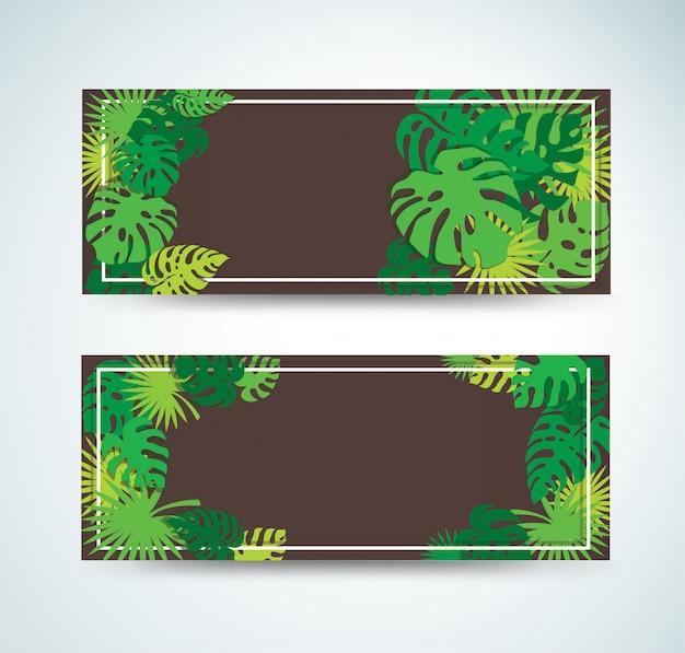 Bannières de feuilles tropicales Vecteur Premium
