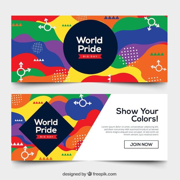 Bannières de la fierté mondiale dans le style de memphis Vecteur gratuit