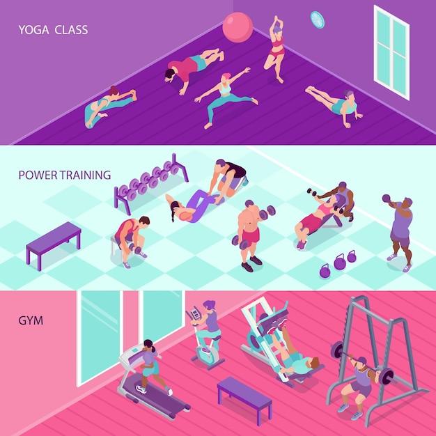Bannières De Fitness Horizontales Avec Des Gens Dans La Salle De Gym Et Au Cours De Yoga 3d Isométrique Isolé Vecteur gratuit