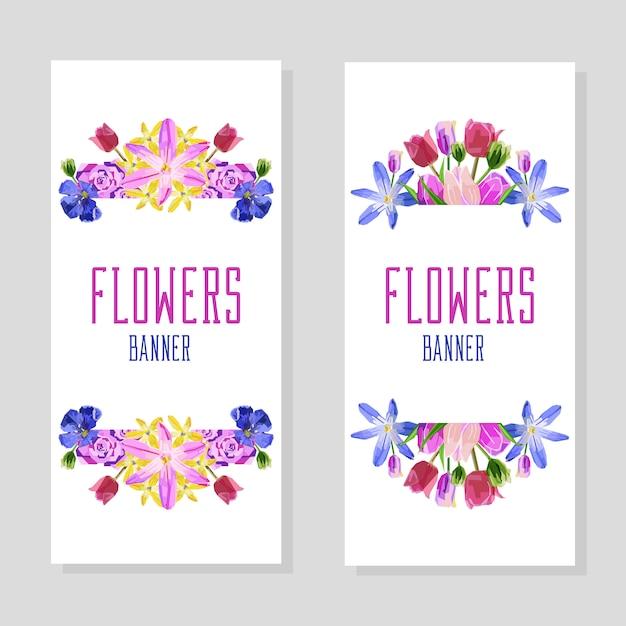 Bannières de fleurs verticales Vecteur Premium