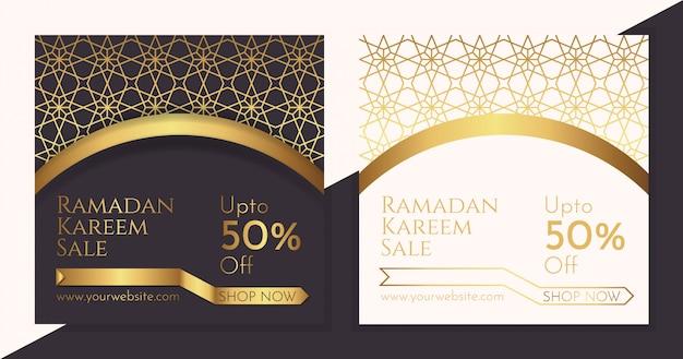 Bannières de fond de vente de luxe ramadan Vecteur Premium
