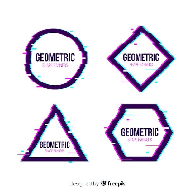 Bannières de forme géométrique glitch Vecteur gratuit