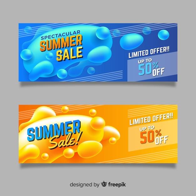 Bannières de forme liquide de vente d'été Vecteur gratuit