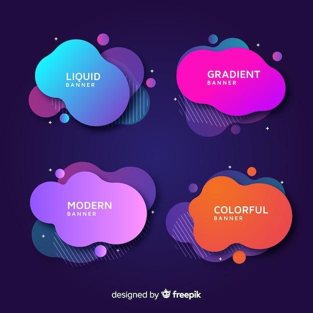 Bannières de formes liquides abstraites Vecteur gratuit