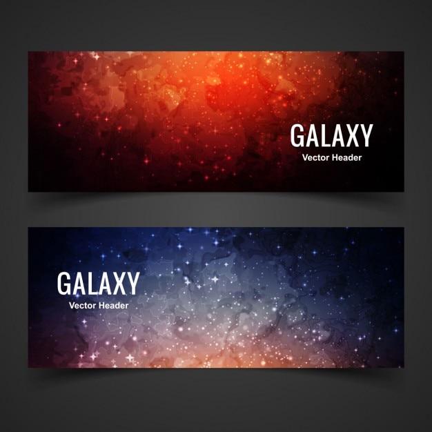Bannières de galaxies colorées Vecteur gratuit