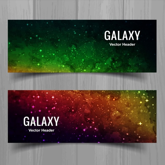 Bannières de galaxies modernes Vecteur gratuit
