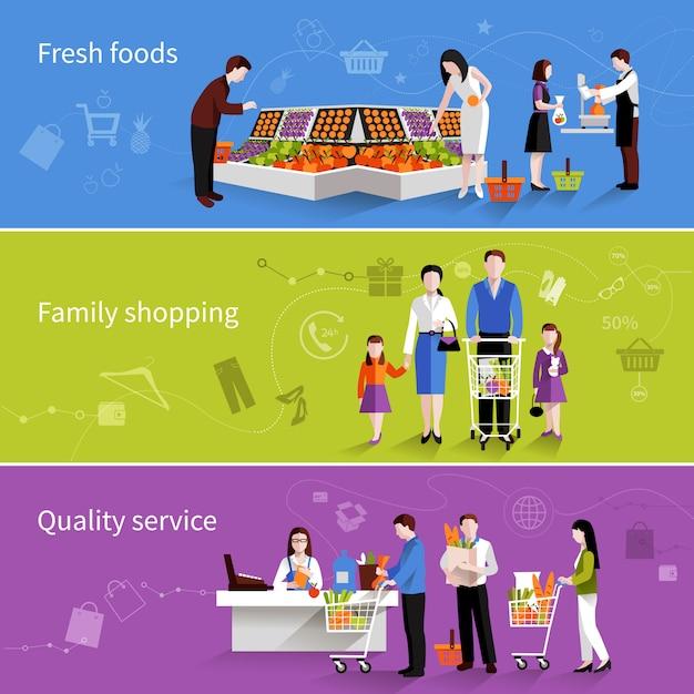 Bannières de gens de supermarché Vecteur gratuit