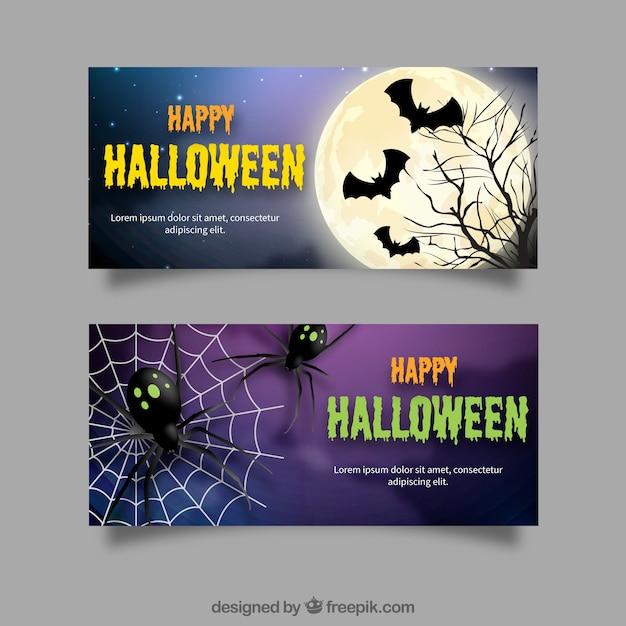 Bannières d'halloween avec des chauves-souris et des araignées Vecteur gratuit
