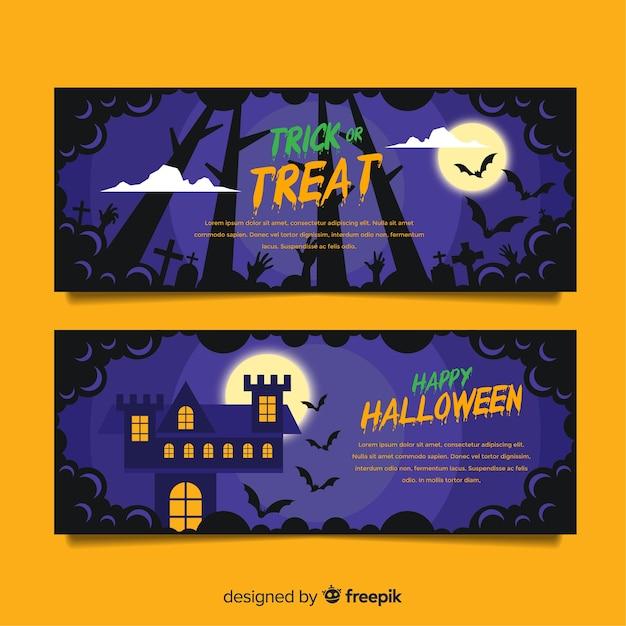 Bannières d'halloween colorées avec un design plat Vecteur gratuit