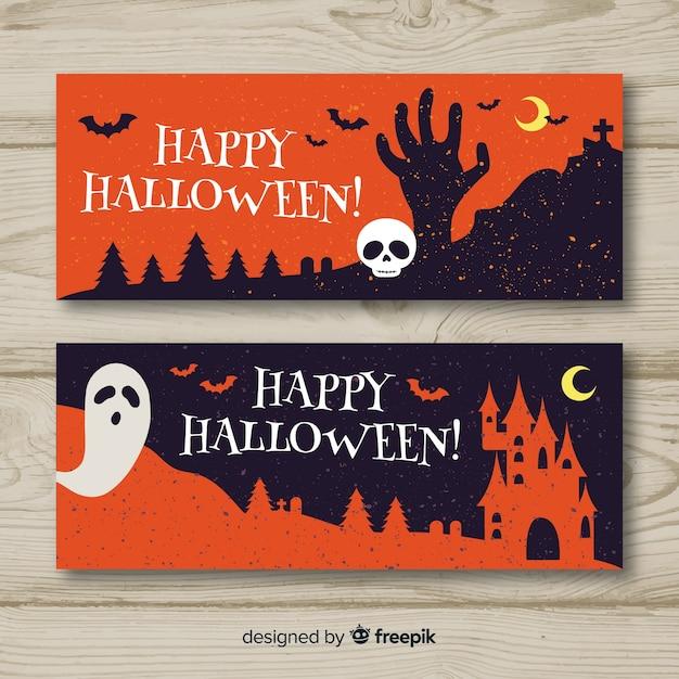 Bannières d'halloween dessinées à la main colorée Vecteur gratuit