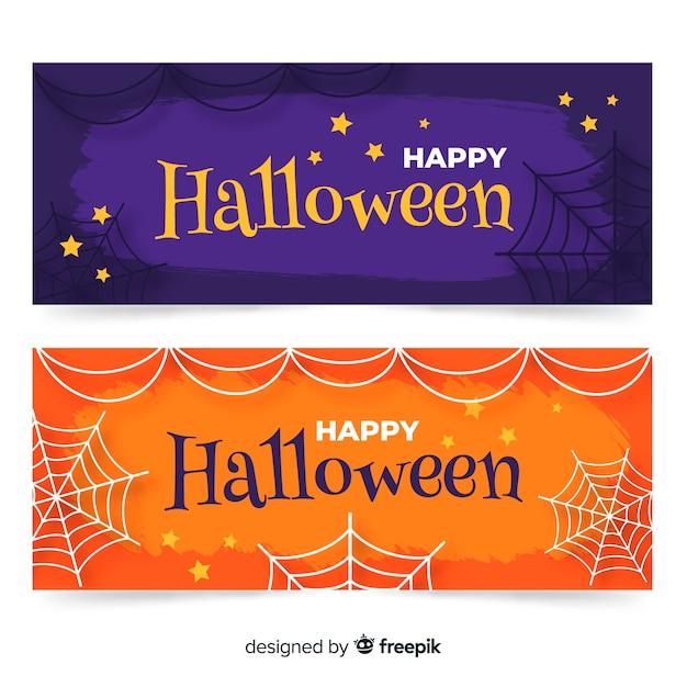 Bannières d'halloween dessinés à la main moderne Vecteur gratuit