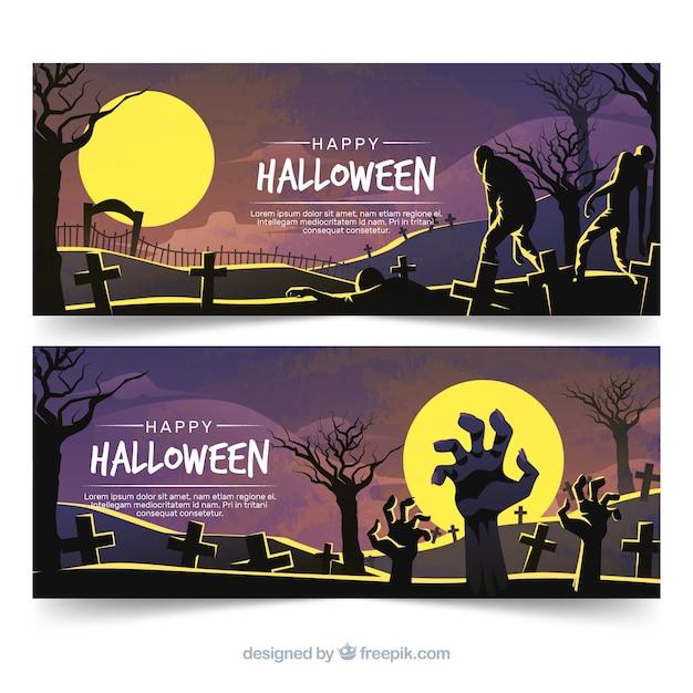 Bannières halloween effrayant avec un design plat Vecteur gratuit