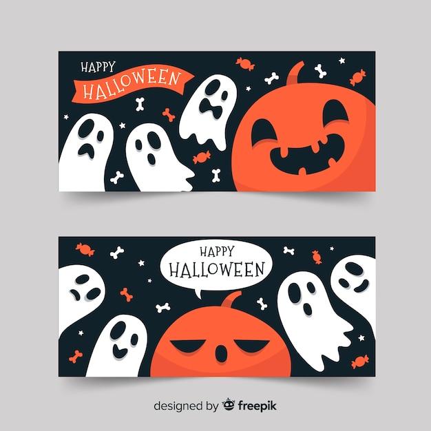 Bannières d'halloween heureux avec citrouille et fantômes Vecteur gratuit
