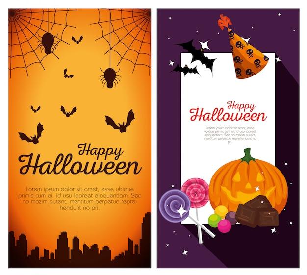 Bannières d'halloween heureux Vecteur gratuit