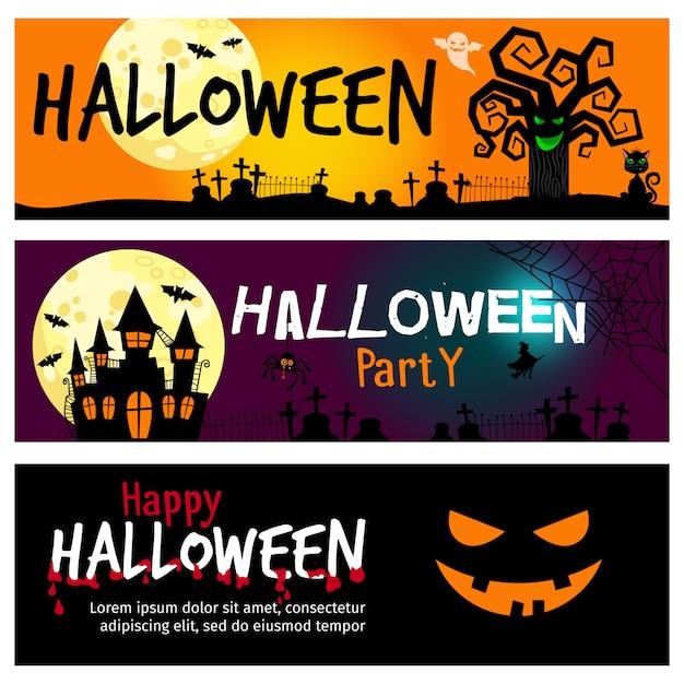 Bannières de halloween heureux Vecteur Premium