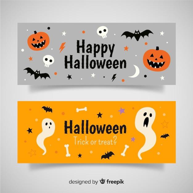 Bannières d'halloween modernes Vecteur gratuit