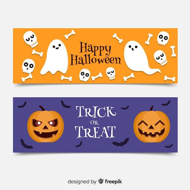 Bannières halloween plat avec des fantômes et des citrouilles Vecteur gratuit