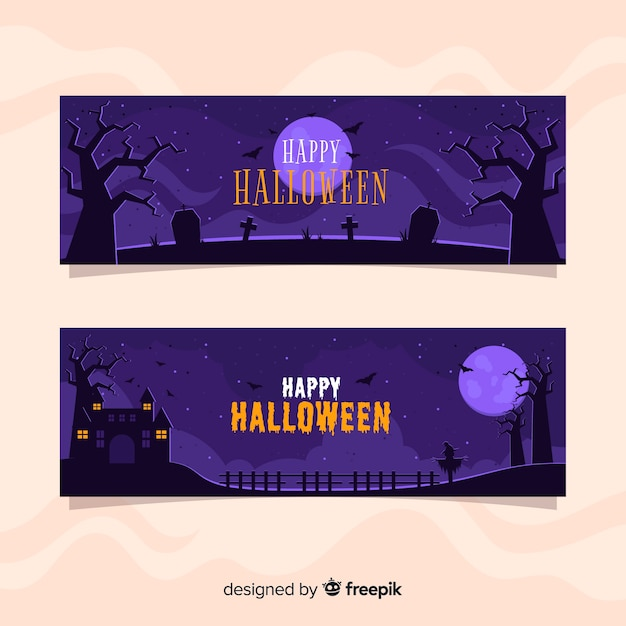 Bannières d'halloween plates nuit pleine lune Vecteur gratuit