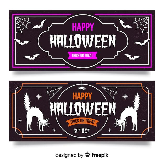 Bannières d'halloween vintage avec chauve-souris et chat noir Vecteur gratuit