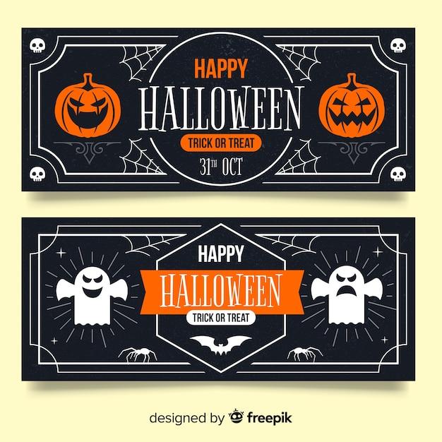 Bannières d'halloween vintage avec citrouille et fantôme Vecteur gratuit