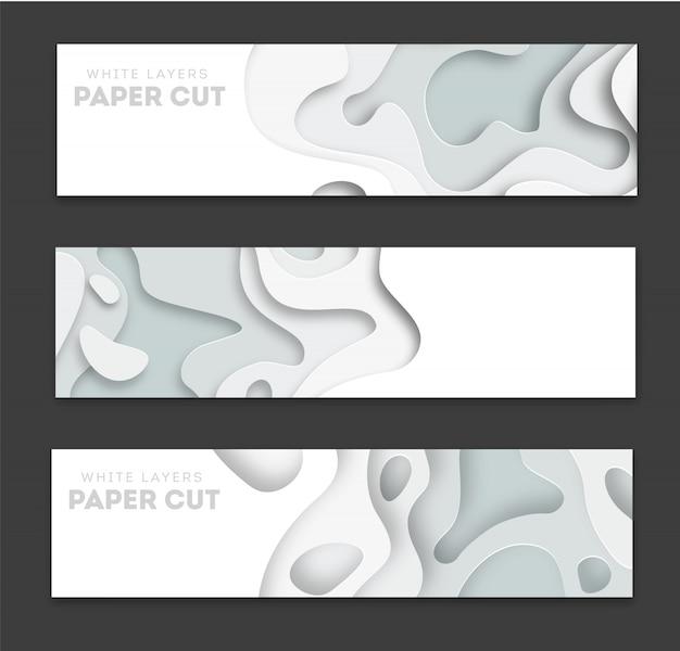Bannières horizontales avec abstrait 3d Vecteur Premium