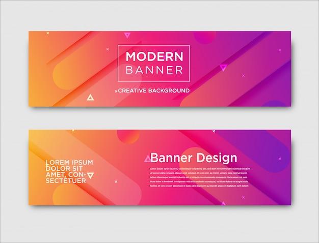 Bannières horizontales abstraites avec motif dégradé Vecteur Premium