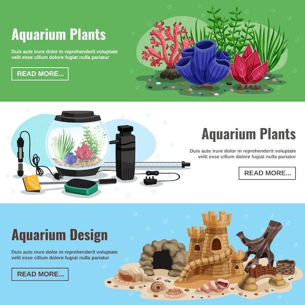 Bannières Horizontales D'aquarium Vecteur gratuit