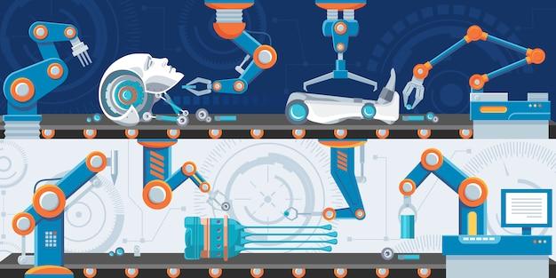 Bannières Horizontales D'automatisation Industrielle Vecteur gratuit