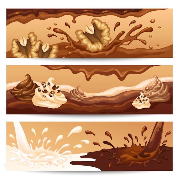 Bannières Horizontales De Chocolat Liquide De Dessin Animé Vecteur gratuit