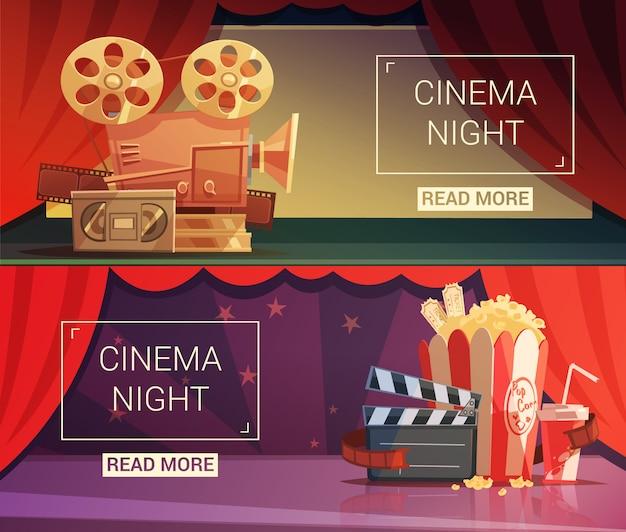Bannières horizontales de dessin animé de cinéma Vecteur gratuit