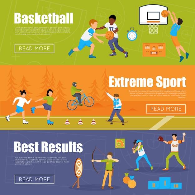 Bannières horizontales du sport des enfants Vecteur gratuit
