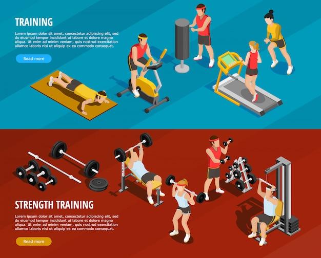 Bannières horizontales d'entraînement sportif Vecteur gratuit