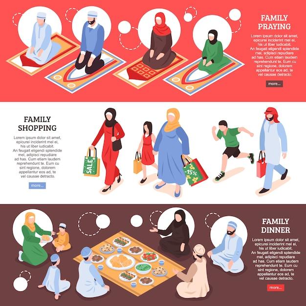 Bannières Horizontales De La Famille Arabe Sertie De Symboles De Magasinage Et De Bureau Isométrique Isolé Vecteur gratuit